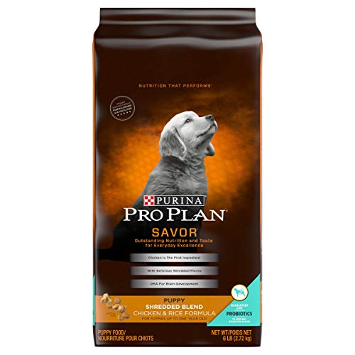 Purina Pro Plan Probiotics Dry Puppy Food, SAVOR Shredded Blend Chicken & Rice Formula - 6 lb. Bag