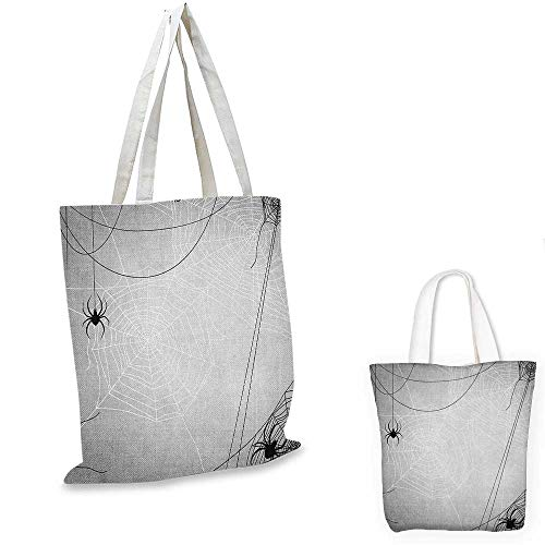 Spider Web non woven shopping bag Spiders Hanging from Webs Halloween Inspired Design Dangerous Cartoon Icon fruit shopping bag Grey Black White. 12