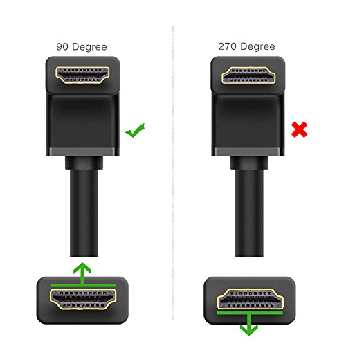 UGREEN HDMI Cable Right Angle 90 Degree Elbow HDMI Cord 4K Ultra HD 3D 1080P, Ethernet and Audio Return ARC Compatible for Nintendo Switch Xbox Playstation PS3 PS4 PC Laptop TV (3FT)