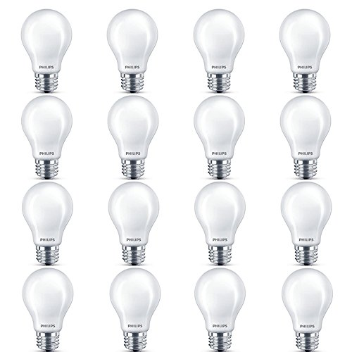 Philips LED Classic Glass Non-Dimmable A19 Light Bulb: 800-Lumen, 5000-Kelvin, 7-Watt (60-Watt Equivalent), E26 Base, Daylight, Frosted, 16-Pack