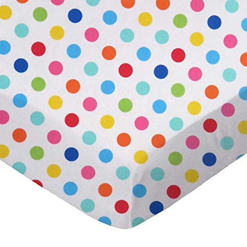 SheetWorld 100% Cotton Percale Crib Sheet Set 28 x 52, Primary Colorful Polka Dots Woven, Made in ()