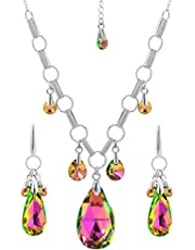 JINQUAN Statement Necklace Crystal Pendants and Earrings Jewelry Set
