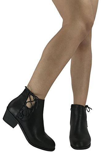 Steven Ella Women's Holly Ankle Bootie Criss Cross Faux Leather Flat Heel Zipper - stylishcombatboots.com
