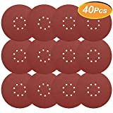 40 Pieces 9 Inch Sandpaper, GOH DODD Hook & Loop 8-Hole Sander Sheets 40-400 Grits Grinding Abrasive Sanding Disc for Wood Furniture Drywall Finishing, Metal Sanding and Mirror Jewelry Car Polishing