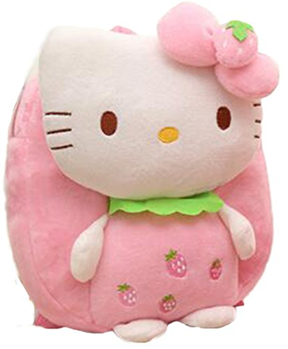 PLUSH BACKPACK Soft Plush Huggable Backpack for Kid Toddler - Adorable Plushie Toys and Gifts (Pink Strawberry)