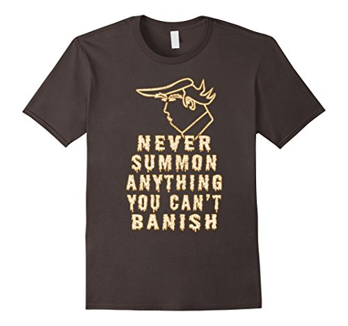 [Men's Never Summon Anything You Cant Banish Funny Halloween Tshirt Large Asphalt] (Taco Adult Costumes)