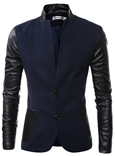Retrograder Men's Casual Leather Long Sleeve Pocket Wool Blazer Suit Coat S030-Navy-M