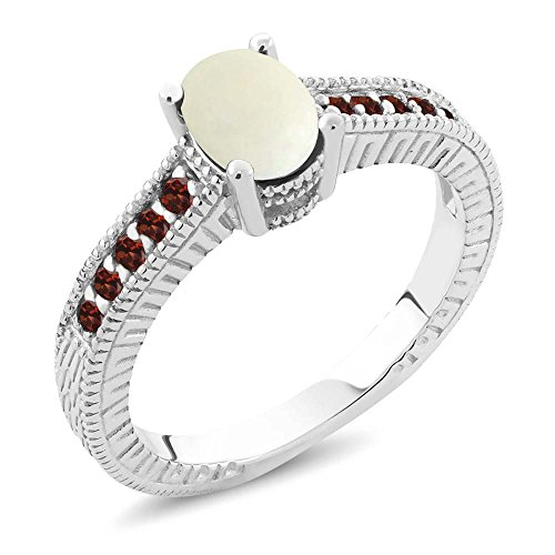 - 1.03 Ct Oval Cabochon White Simulated Opal Red Garnet 925 Sterling Silver Engagement Ring