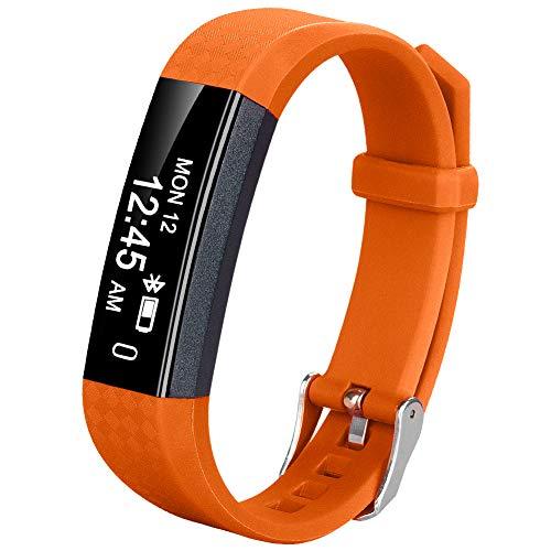 Coch Fitness Tracker, IP67 Waterproof Activity Tracker Watch,Sleep Monitor,Smart Fitness Band,Bluetooth Step Counter Kids Women Men(Orange
