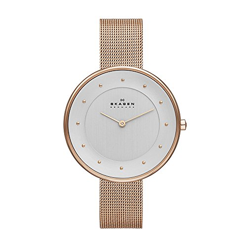 Skagen Women's Gitte Quartz Stainless Steel Mesh Casual Watch, Color: Rose Gold-Tone (Model: SKW2142)