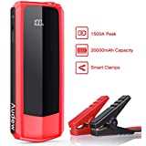 Audew 1500A Peak 20000mAh Car Jump Starter (Start Any Gas Engine or up to 8.5L Diesel Engine) Auto Battery Booster, 12V Car Jumper, Power Bank Power Pack with Quick Charging Ports