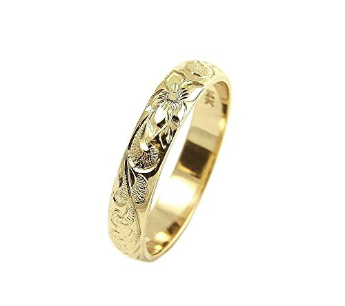 14K yellow gold custom hand engrave Hawaiian queen plumeria scroll band ring 4mm size 7 by Arthur's Jewelry (Image #5)
