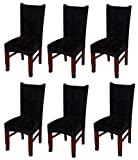 MOCAA Velvet Stretch Dining Room Chair Covers Thick Soft Removable Dining Chair Slipcovers Set of 6 M008 (Black)
