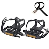 NAMUCUO Bike Pedals with Clips and Straps, for Exercise Bike, Spin Bike and Outdoor Bicycles, 9/16-Inch Spindle Resin/Alloy Bicycle Pedals, Half Year Warranty (Black)