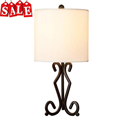 POPILION Modern Black Bedside Table Lamp, Table Lamps With White TC Fabric Shade For Living Room Bedroom