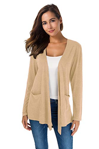 Lightweight Cotton Cardigan Sweater - Women's Loose Casual Long Sleeved Open Front Breathable Cardigans with Pocket (White apricot1, S)