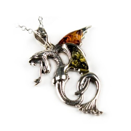 Multicolor Amber Sterling Silver Alchemy Gothic Dragon Pendant Rolo Chain 18