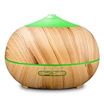 Tenswall 400ml Ultrasonic Aromatherapy Essential Oil Diffuser, Cool Mist Humidifier Whisper Quiet Operation - Wood Grain-Changing LED Light &Auto Shut-Off Function 4 Timer Settings