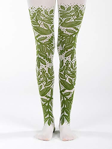 f2933adb94a Amazon.com  Green Forest Printed Pantyhose - Leaf patterned Opaque Tights  for Women  Handmade