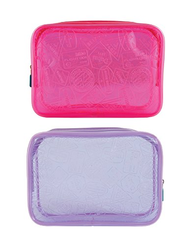 Flight 001 Neon X-Ray Tsa Approved Clear Quart Bag Set, Pink/Purple