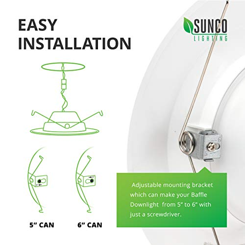 Sunco Lighting 12 Pack 5/6 Inch LED Recessed Downlight, Baffle Trim, Dimmable, 13W=75W, 5000K Daylight, 965 LM, Damp Rated, Simple Retrofit Installation - UL + Energy Star by Sunco Lighting (Image #4)