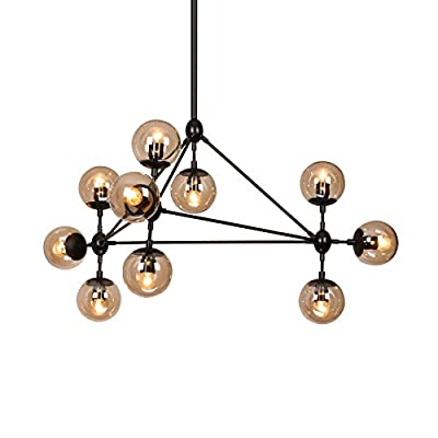 LightInTheBox Modern Dimmable Modo Chandelier 10 Lights Semi-Flush Pendent Light Mounted Black Paiting Amber Glass Lamp Lighting Fixture for Living Room Loft Light