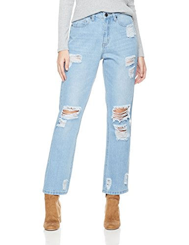 Distressed Straight Leg Jeans (Lily Parker Women's High Waist Destroyed Ripped Distressed Straight Jean 28 Light Blue)