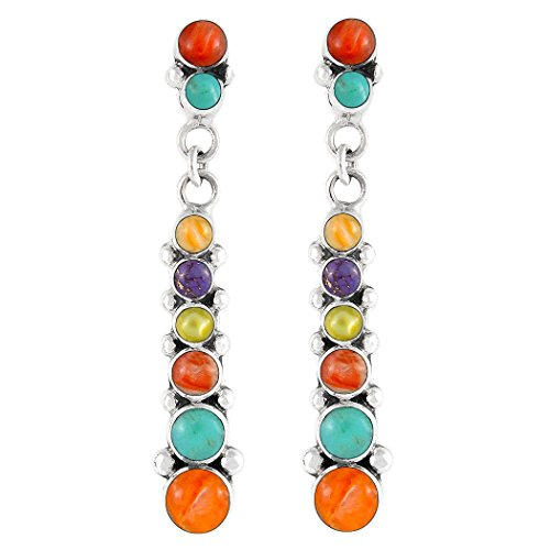 Turquoise & Gemstone Earrings Sterling Silver (SELECT from different styles) (Graduated Rounds)