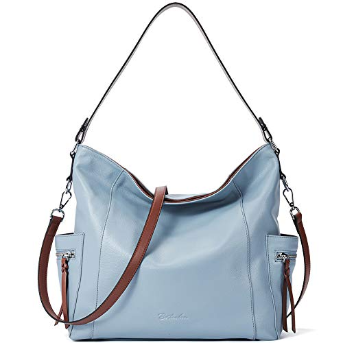 - BOSTANTEN Genuine Leather Hobo Handbags Designer Shoulder Tote Purses Crossbody Large Bag for Women Light Blue