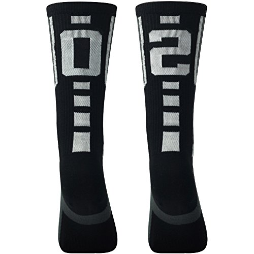 Black Sports football Socks for Men, Comifun Unisex Mens Womens School Sports Athletic Custom Number Black/White Soccer Crew Long Tube Stocking Socks 1 (High School Football Teams)