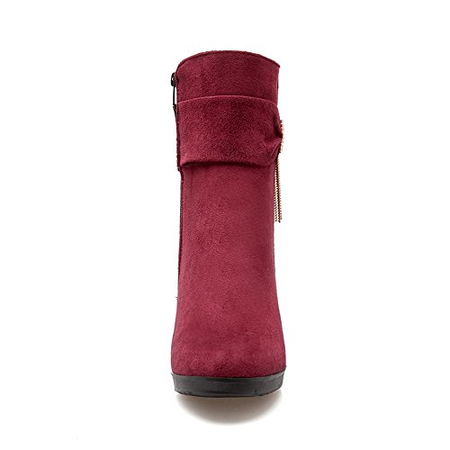 Allhqfashion Women's High-Heels Dull Polish Low-top Solid Zipper Boots Red OKjMwq7