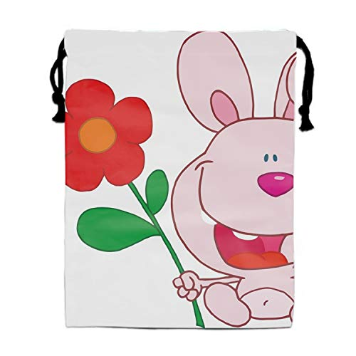 (Party Favors Bags Bunny With Flower Designs, Cartoon Gift Candy Drawstring Bags Pouch, Treat Goodie Bags Kids Girls Boys Birthday)