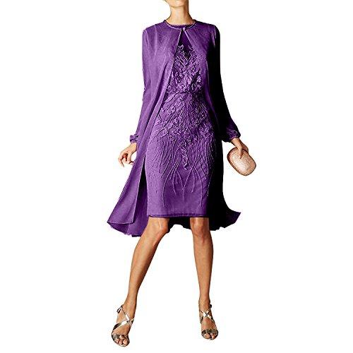 Etuikleider mit Dunkel Violett mia Knielang Partykleider Damen langarm Braut Rot Bolero Spitze La Chiffon Abendkleider nvSxw0BqwH
