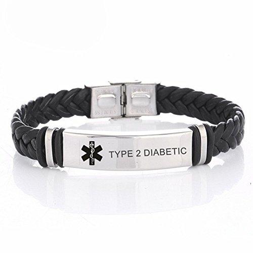 LiFashion LF Mens Stainless Steel Braided Leather Medical Alert Wristband Sos Type 2 Diabetic Engraved Medical ID Bracelet Awareness Emergency for Husband Son Boyfriend Grandpa Dad (Type2 Diabetic Bracelet)
