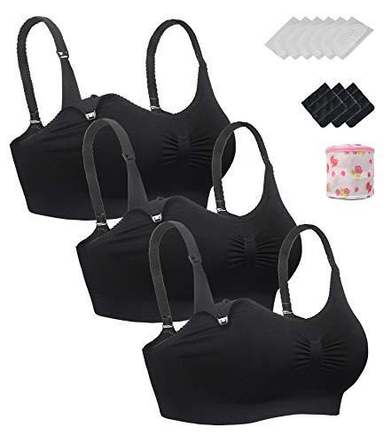 iLoveSIA Womens Nursing Bra Wirefree Breastfeeding Maternity Bralette Pack of 3 Black Size M
