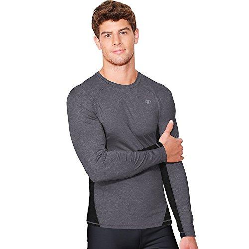 Champion Vapor Mens Long Sleeve T-Shirt_Granite Heather/Black_Small
