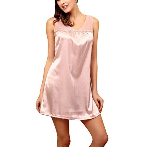 Zhhlinyuan Womens Home Sweet Princess Nightwear Summer Silk Loose Sleep Skirt Pyjama Pale violet-red