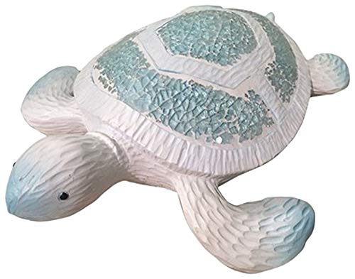 Fancy That Ocean Wave Large Mosaic Sea Turtle Figurine One Size White/Light Blue -