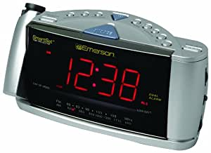 Emerson CKS3528 SmartSet Projection Clock Radio with Dual Alarms (Silver) (Discontinued by Manufacturer)