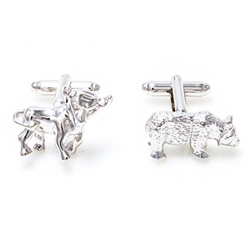 MRCUFF Bull and Bear Wall Street Pair Cufflinks in a Presentation Gift Box & Polishing Cloth (Bull Bear Cufflinks)