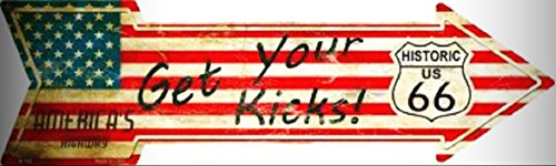 GET YOUR KICKS ON ROUTE 66 AMERICAN FLAG METAL NOVELTY DIRECTIONAL ARROW SIGN for Home/Man Cave Decor by PrettyMerchant