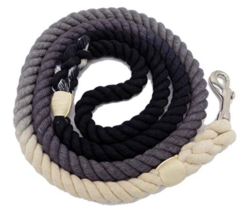 Braided Leash - Sier 5ft Multi-Colored Braided Ombre Cotton Heavy Duty Strong Durable Rope Dog Leash (Black Grey)