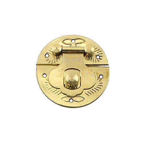 RZDEAL 1.18 Inches Small Round Brass Buckle Antique Hardware Furniture Accessory Decorative Wood Case Jewelry ()