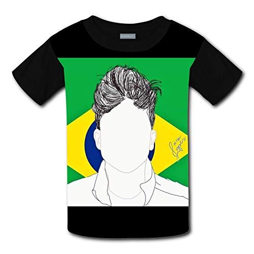 Rudy_Mancuso Head Portrait Fashion Kids Tees Shirts Short Sleeve T-Shirts for Boys and Girls Black