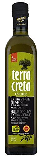 Crete Olive Oil - Terra Creta Estate Protected Designation of Origin from Kolymvari in Crete, Greece Extra Virgin Olive Oil - Winner of 9 International Taste Awards - 500ml