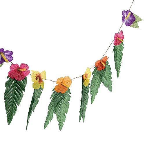 Flower 4 Strand - 4 Strands Hibiscus Flowers & Leaves Garland Luau Party Decor Hawaiian Wedding Decoration