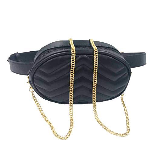 - Women Waist Bag Fashion Belt Packs Round Fanny Packs Stylish PU Waist Pouch Adjustable Belt Chain Shoulder Bag by VAQM (Black)