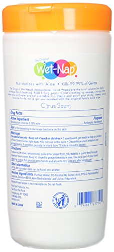 Wet-Nap The Original Anti-Bacterial Wipes Cannister, Citrus, 40 Count