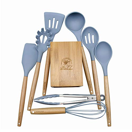 JIL77 – Silicone Utensil Set with Bamboo Holder and 8 Wooden Handles – Kitchen Cooking Utensils – Heat Resistant Up to 450°F. Silicone BPA Free Non-Scratch