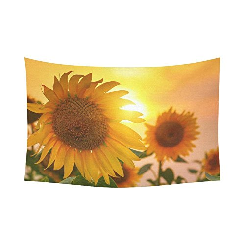 Custom Sunset Yellow Blooming Sunflower Tapestry Wall Hanging